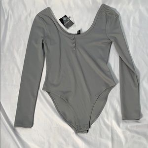 Forever 21 Long Sleeve Grey Body Suit NWT Size M